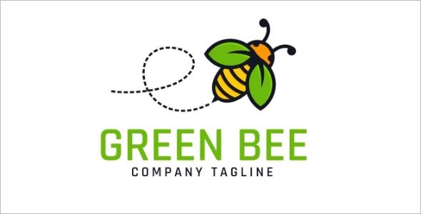 Nature Green Bee Logo Template
