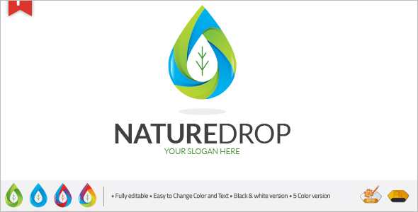 NatureDrop Logo Design Template