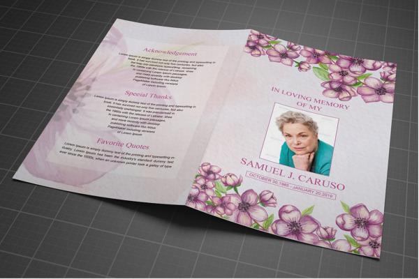 Obituary Program Funeral Template