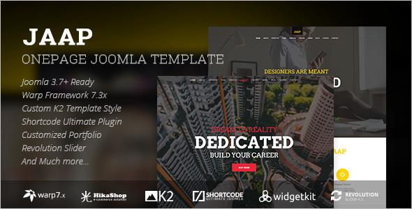 One Page App Landing Joomla Template