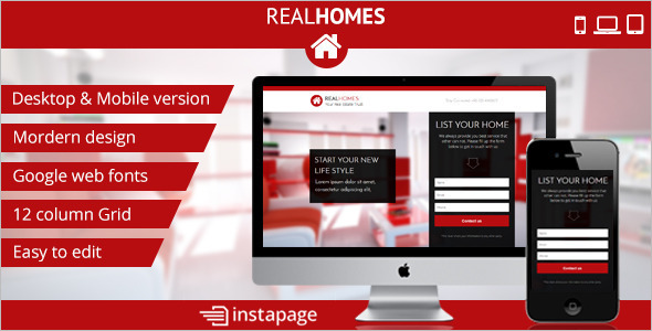 One Page Real Estate Instapage Template