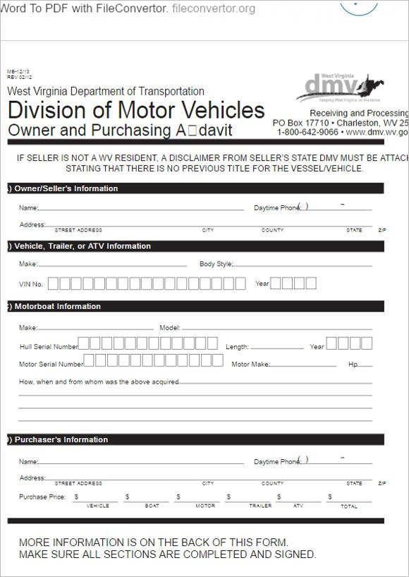 Owner&Purchasing Affidavit Form