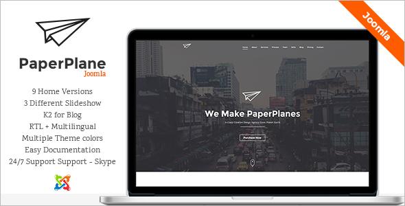 Paper Plane Creative Parallax Joomla Template