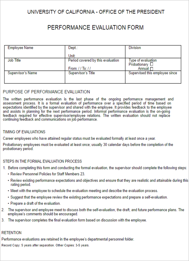 Performance Evaluation Form Template ...