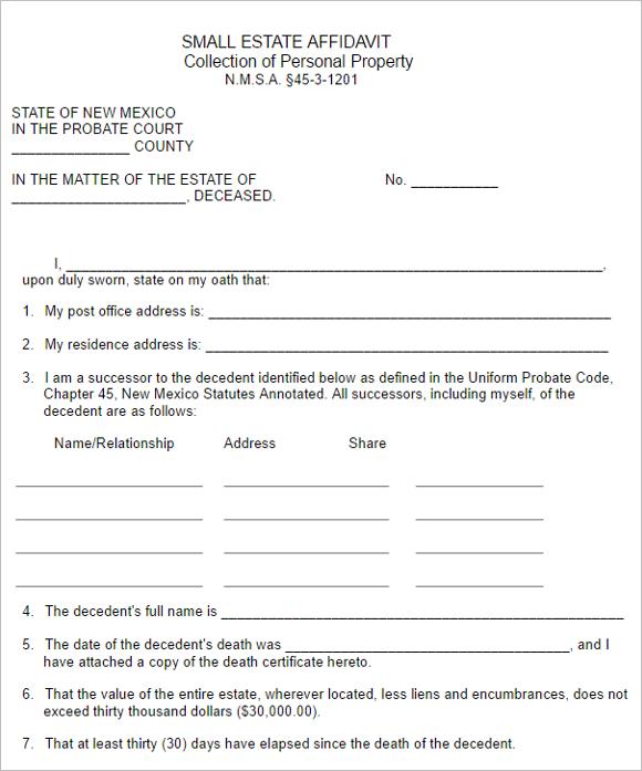 Personal Property Affidavit