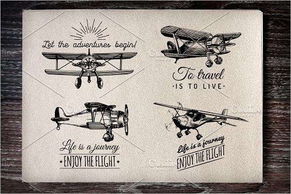 Planes vintage poster Design Template