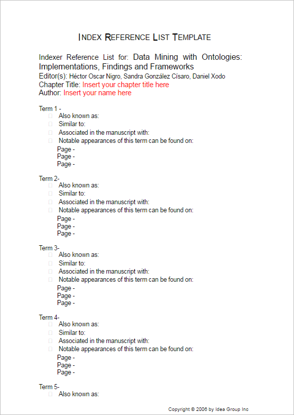 Printable Index Reference List Form