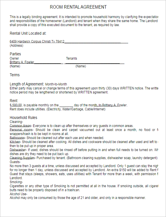 Printable Rental Lease Agreement