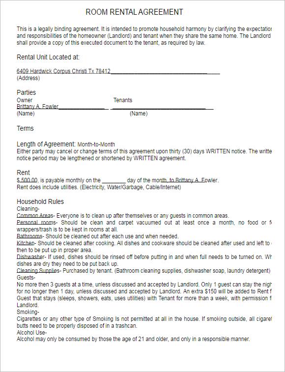 Printable Rental Lease Agreement