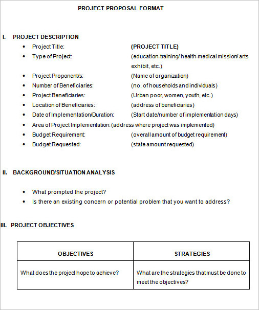 Project Proposal Format Template ...