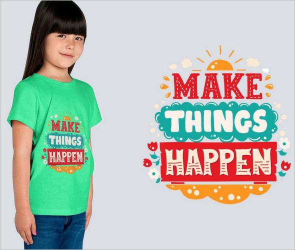 Realistic kids T Shirt Design