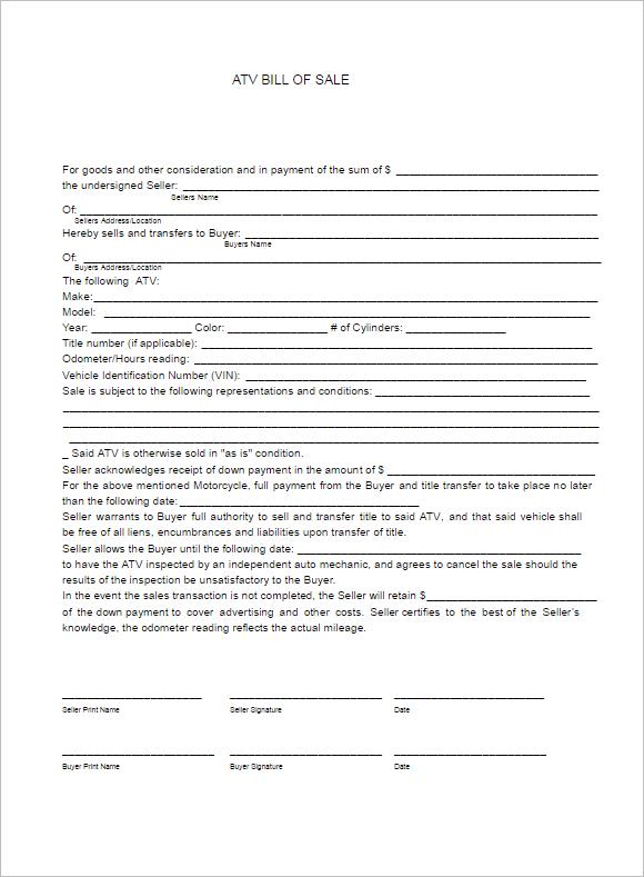 Sample Atv Bill of Sale