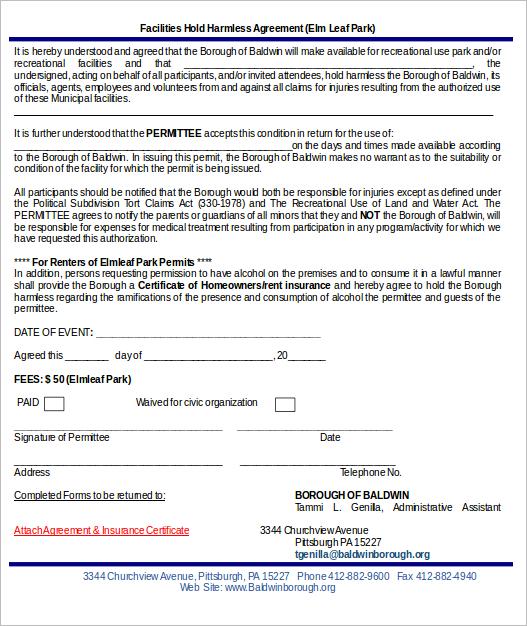 Sample Facilities Hold Harmless Agreement Template