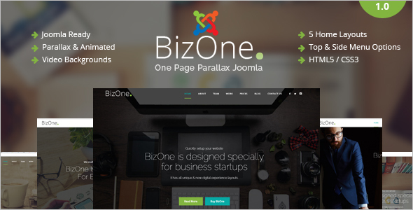 Startup Business One Page Joomla Template