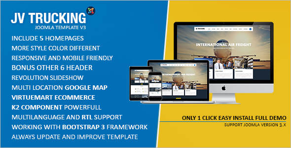 Transportation & Logistics Joomla Trucking Template