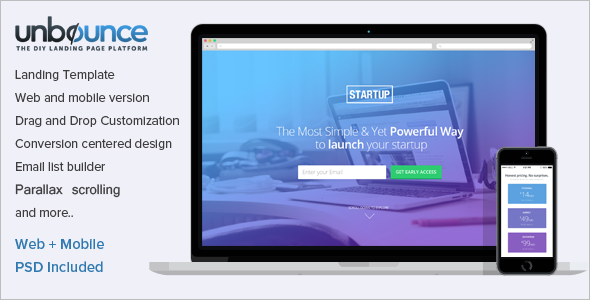 Unbounce Startup Landing Page Template