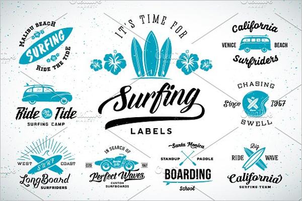 Vintage Surfing Logos Set Design