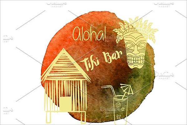 Watercolor Hawaiian graphic design