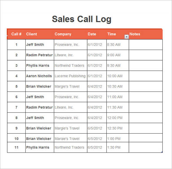 Call Log Template Word Excel || Free & Premium Templates