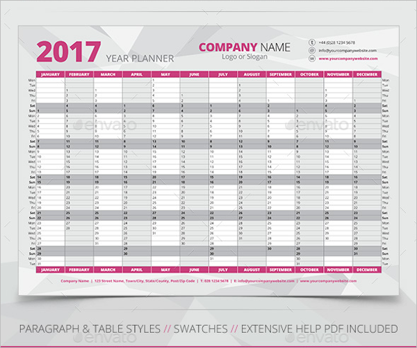 2017 Wall Planner Poster