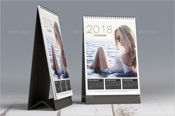 2018 Desk Calendar Mock Up Template