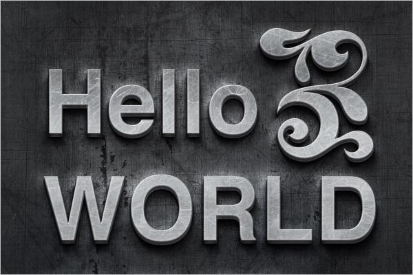 3D Metal Effect Logo Mockup