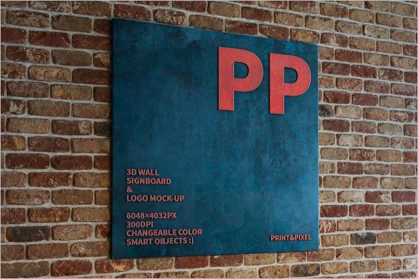 3D Wall Signboard Logo