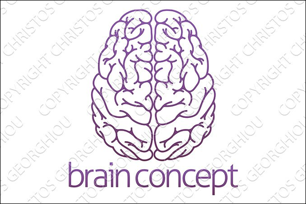 Abstract 3D Brain Logo Template