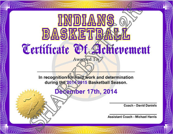 14 basketball certificate templates free premium creative achievement certificate template yadclub Choice Image