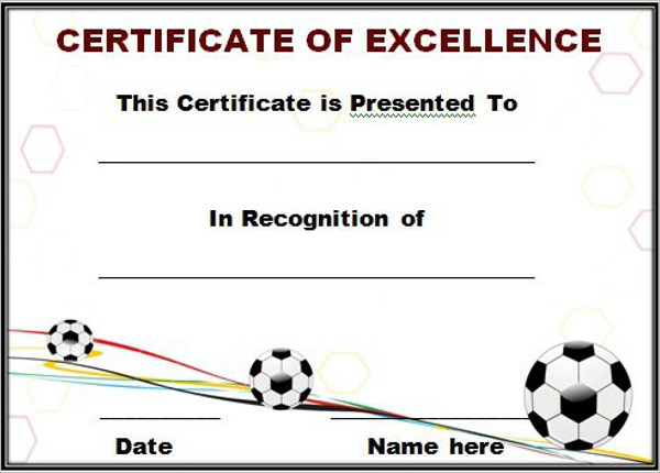 Editable Soccer Award Certificate Templates  Free  Premium