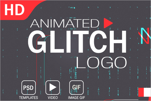 Animated Glitch Logo Photoshop Template