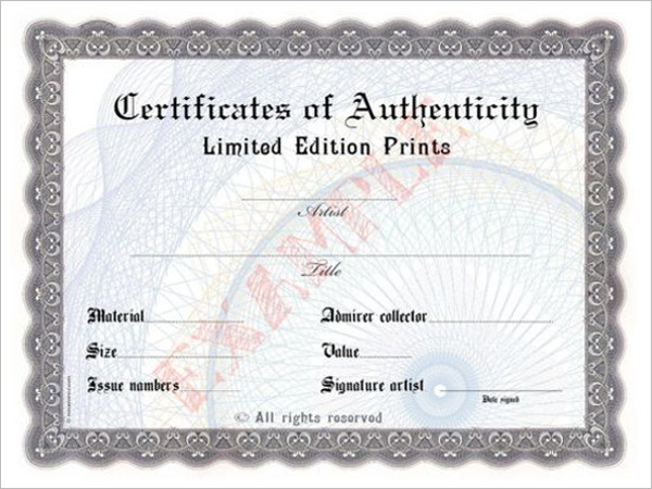 AuthenticityBlank Certificate Template