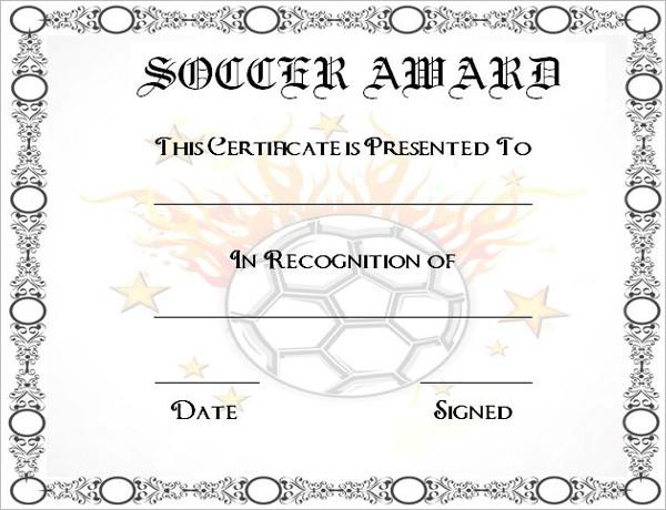 soccer awards certificates templates