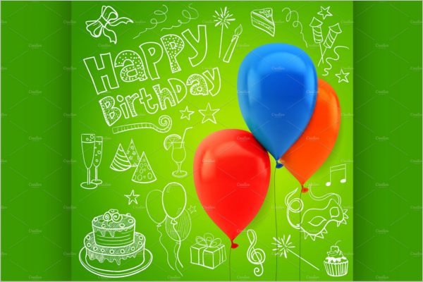Ballons Birthday Poster Template