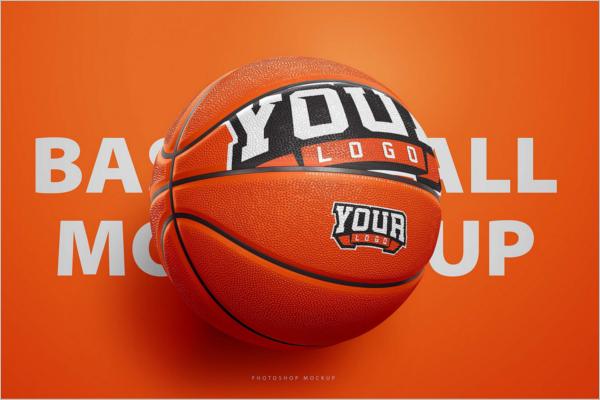 Basketball Ball Mock-Up Photoshop Logo Template