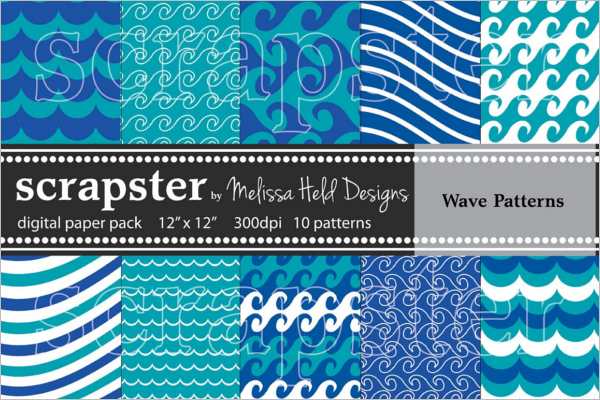 Blue Wave Vector Pattern