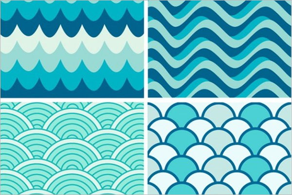 Blue Waves Retro Patterns