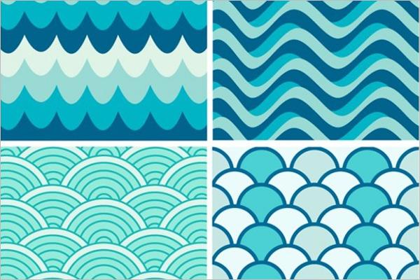 Blue Waves Retro Patterns