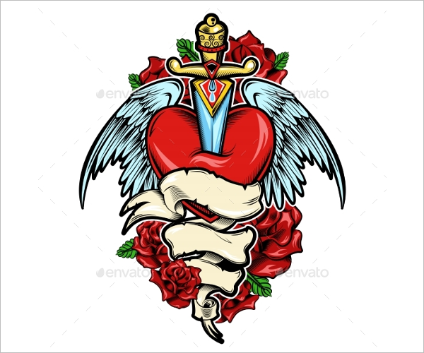 Broken Heart Tattoo Design