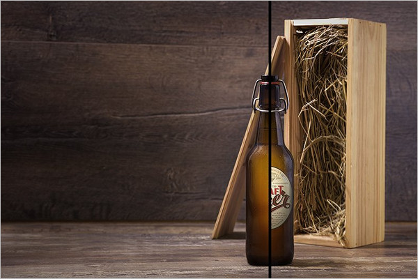 Brown Bottle Mockup Template