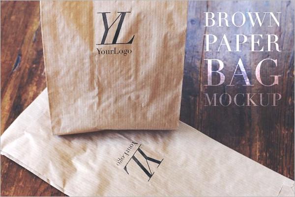 Brown Paper Mockup Bag PSD