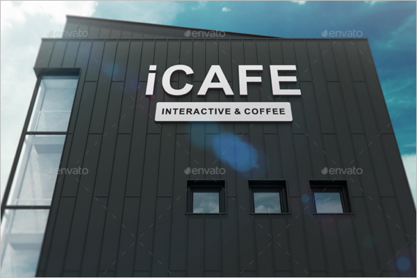Cafe Coffee Wall Logo Mockup