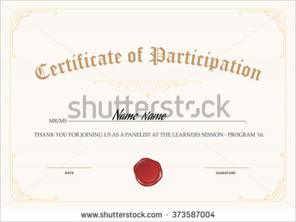Certificate Of Participation Design