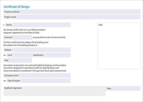 Certificate of Design Template