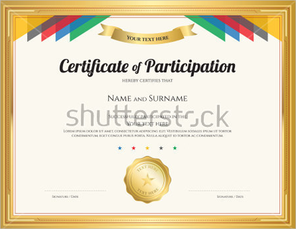 Participation certificate templates free premium for Certificate of participation template