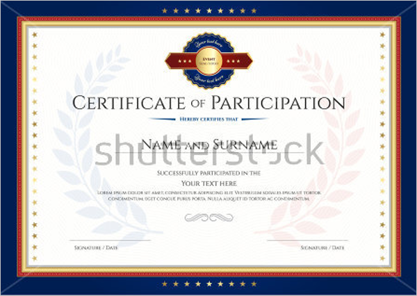 Certification Of Participation Template Editable