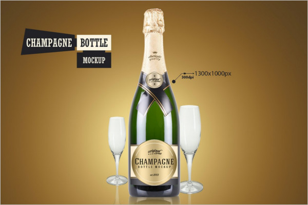 Champagne Bottle Mockup Template