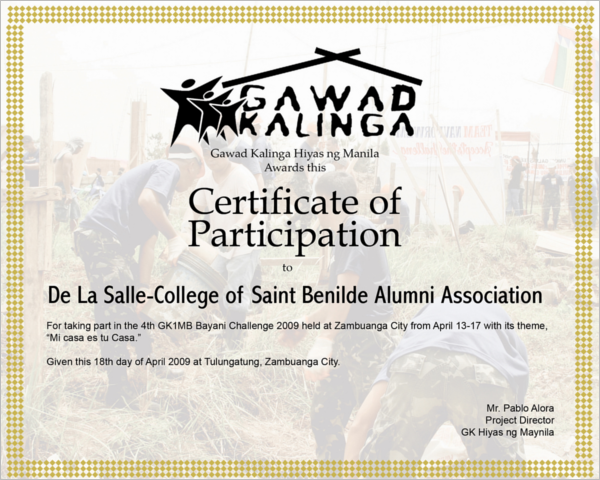 College Participation Certificate