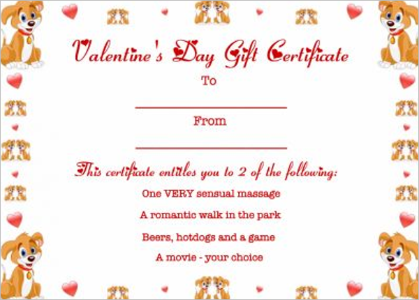 Colorful valentine's Day Gift Certificate