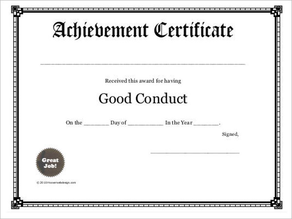 Conduct Certificate Template